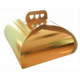 Paper Cake Box with Handle Cake Shape Gold 30,5x30,5x14cm (100 Units)