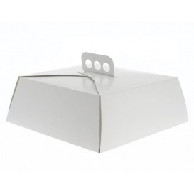 Paper Cake Box Square Shape White 27,5x27,5x10cm (100 Units)