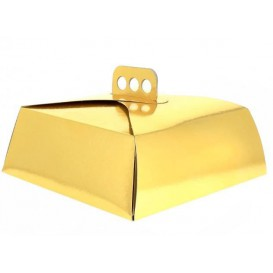 Paper Cake Box Square Shape Gold 24,5x24,5x10cm (100 Units)