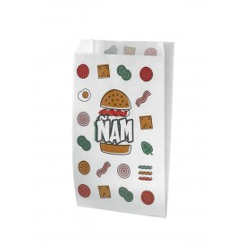 Paper Burger Bag Grease-Proof Design 14+5x23cm (125 Units)