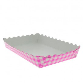 Paper Tray Waffle Closed Pink 18,2x12,2x3cm (500 Units)