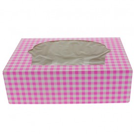 Paper Cupcake Box 6 Slot Pink 24,3x16,5x7,5cm (20 Units)