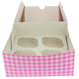 Paper Cupcake Box 4 Slots Pink 17,3x16,5x7,5cm (140 Units)
