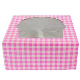 Paper Cupcake Box 4 Slot Pink 17,3x16,5x7,5cm (20 Units)