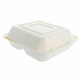 "Sugarcane Hinged Container ""Menu Box"" 3 Compartments White 20x20x7,5cm (50 Units)"