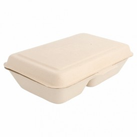 "Sugarcane Hinged Container ""Menu Box"" 2 Compartments 22,5x16,5x6,4cm (50 Units)"