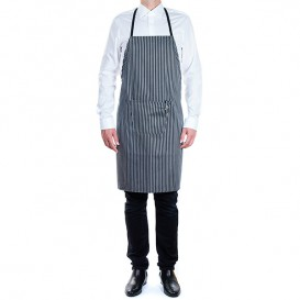 Serving apron bib and pocket Grey and Black Stripes 75x90cm (1 Unit)