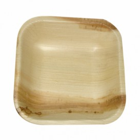 Palm Leaf Mini Plate Square Shape 10x10x2,5cm (25 Units)