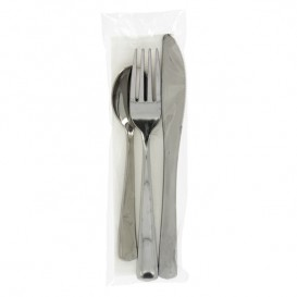 Plastic Cutlery kit PS Metallized 3 Pieces with Napkin (300 Units)