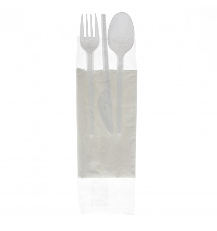 Plastic Cutlery kit PS Fork, Spoon, Knife and Napkin (25 Units)