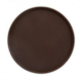 Plastic Tray Round Non-Slip Brown Ø40,0cm (12 Units)
