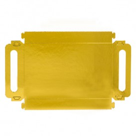 Paper Tray with Handles Rectangular shape Gold 30x12 cm (100 Units)