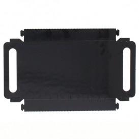 Paper Tray with Handles Rectangular shape Black 12x19 cm (100 Units)