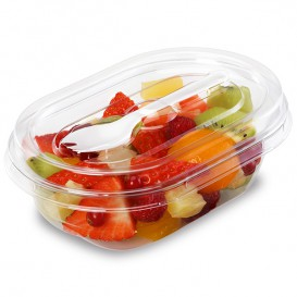 Plastic Salad Bowl APET shape with Fork 750ml 19x14x9,5cm (300 Units)