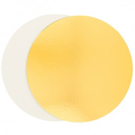 Paper Cake Circle Gold and White 26cm (100 Units)