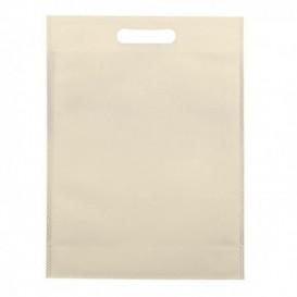 Non-Woven Bag with Die-cut Handles Cream 30+10x40cm (25 Units)
