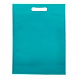 Non-Woven Bag with Die-cut Handles Aquamarine 30+10x40cm (200 Units)