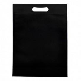 Non-Woven Bag with Die-cut Handles Black 30+10x40cm (200 Units)