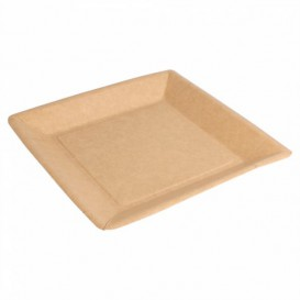 Paper Plate Biocoated Natual Square 23cm (400 Units)