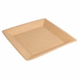Paper Plate Biocoated Natual Square 18cm (20 Units)