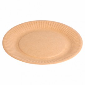 Paper Plate Biocoated Natural Relief 18 cm (400 Units)