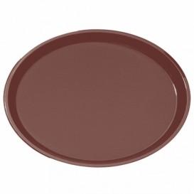 Plastic Tray Oval Non-Slip Brown 67,0x55,5cm (6 Units)