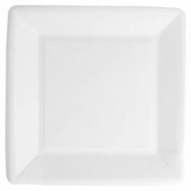 Paper Plate Biocoated White Square 18cm (20 Units)