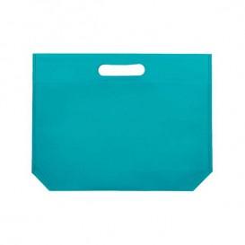 Non-Woven Bag with Die-cut Handles Aquamarine 34+8x26cm (25 Units)