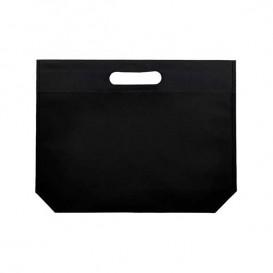 Non-Woven Bag with Die-cut Handles Black 34+8x26cm (200 Units)