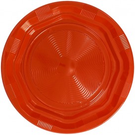 Plastic Plate Deep Round shape Octogonal Orange Ø22 cm (25 Units)
