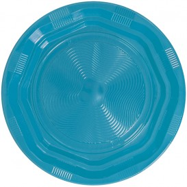 Plastic Plate Round shape Octogonal Light Blue Ø17 cm (425 Units)