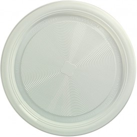 Plastic Plate PLA Flat White Ø22 cm (25 Units)