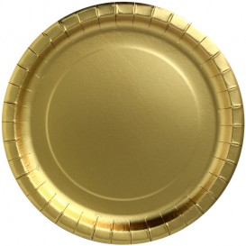 "Paper Plate Round Shape ""Party Shiny"" Gold Ø34cm (3 Units)"