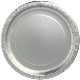 "Paper Plate Round Shape ""Party"" Silver Ø34cm (45 Units)"