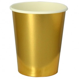"""Paper Cup Gold 9Oz/240ml """"Party"""" (10 Units)"""