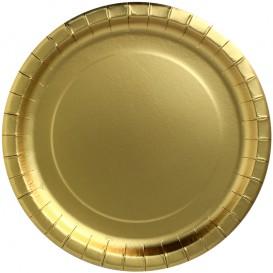 "Paper Plate Round Shape ""Party Shiny"" Gold Ø23cm (300 Units)"