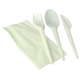 Cornstarch Cutlery Kit PLA : Fork+ Spoon + Knife + Napkin PLA (100 Units)
