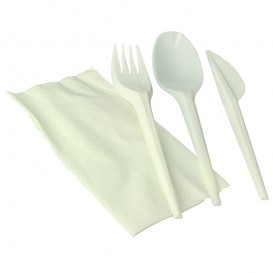 Cornstarch Cutlery Kit PLA : Fork+ Spoon + Knife + Napkin PLA (300 Units)