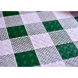 Pre-Cut Paper Tablecloth Green Checkers 40g 1,2x1,2m (300 Units)