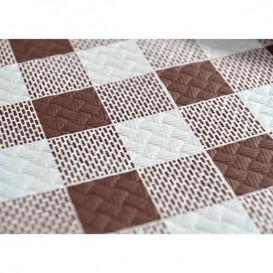 Pre-Cut Paper Tablecloth Brown Checkers 40g 1x1m (400 Units)