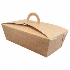 "American Box with handles ""Doggy Bag"" Kraft 20x10x7cm (140 Units)"