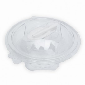 Plastic Salad Bowl APET Round shape with Spoon 250ml Ø12cm (60 Units)