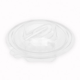 Plastic Salad Bowl APET Round shape with Spoon 150ml Ø12cm (420 Units)