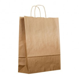Paper Bag with Handles Kraft 100g 25+11x31cm (200 Units)