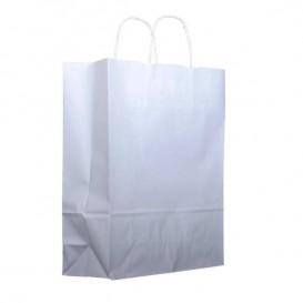 Paper Bag with Handles Kraft White 100g 25+11x31cm (200 Units)