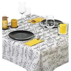 """Pre-Cut Paper Tablecloth """"Buen Provecho"""" 37g 1x1m (400 Units)"""