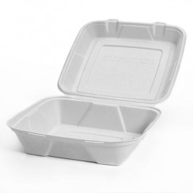 "Sugarcane Hinged Container ""Menu Box"" White 24x23x7,7cm (200 Units)"
