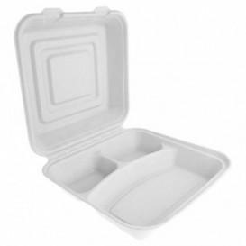 "Sugarcane Hinged Container ""Menu Box"" White 3C 24x23x7,6cm (200 Units)"