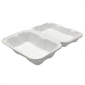 """Sugarcane Hinged Container """"Menu Box"""" White 23x15x7,7cm (200 Units)"""