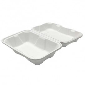 "Sugarcane Hinged Container ""Menu Box"" White 23x15x7,7cm (50 Units)"